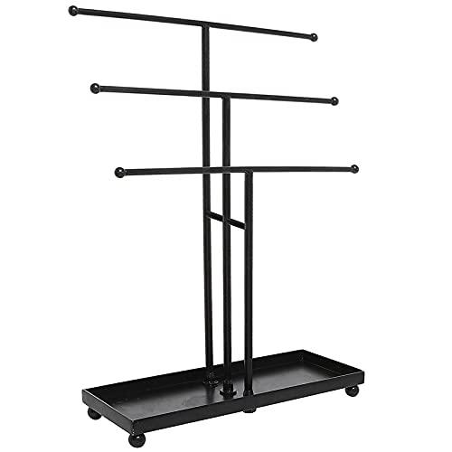 LITOSM Organizador Joyas Metal 3 Newer Jewelry Tree Stand Organizer Pulsera de Mesa y Collar Organizador de la joyería (Color : Black)