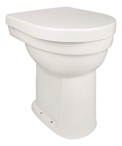 Calmwaters® - Erhöhtes Stand-WC als Flachspüler mit senkrechtem Abgang im Set mit Toilettendeckel, 10 cm - 07AB2245