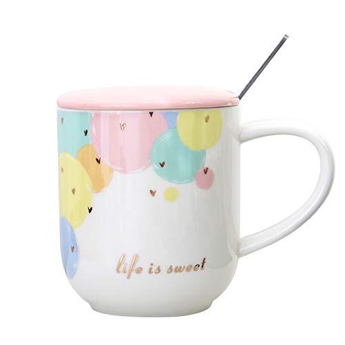 AICUP Glod Farbe Liebe Bunte Punkte Kaffeetasse Mit Deckel Löffel Keramik Teetasse Geschenk Für Frauen Mutter Mädchen Rosa Inhalt: 450Ml