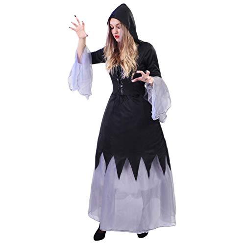 YuanDian Damen Halloween Horror Kostüme Skelett Schädel Overalls Geisterbraut Hexe Outfit Kleid Karneval Cosplay Einfache Verkleidung Schminke Faschingskostüme 10# Weibliche Hexe 160-175cm