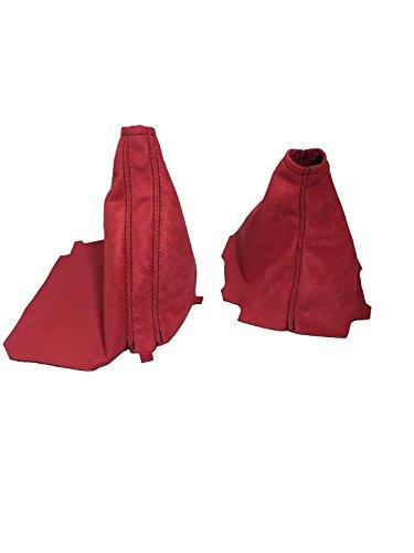 For 15-18 Subaru WRX Shift and E Brake Boots Red Suede Black Stitch