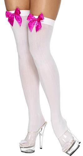 Fancy Me Damen schwarz weiß blau rot rosa blau gingham-schleife TOP Piraten Matrose Dorothy Halloween Kostüm Strümpfe Socken Halterlos - Weiss mit Rosa Schleife, One Size