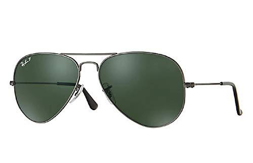 Ray-Ban RB3025 Aviator - Gafas de sol de aviador polarizadas (marco de metal y lentes polarizadas), color verde