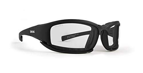 Epoch Eyewear Anteojos de Sol híbridos para Motocicleta, Montura Negra, Lente Transparente ANSI Z87.1+
