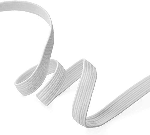 5 Yards Elastic 1/4 Inch for Sewing Craft DIY Apparel-Colored Elastic Bands for Sewing Crafts Decoration-Elastic Ribbon for Sewing Craft Decoration (1/4inch, White) L7