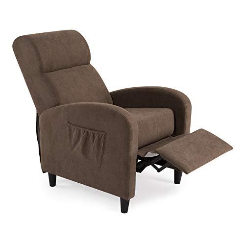 SWEET SOFA Sillón Relax Tempo, butaca sillón reclinable con reposapiés, Sistema de Abertura Push en Elegante Tela Anti Manchas. Fabricación Nacional (Marrón)