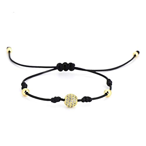 AMINIY Ball Rose Gold Color Lace Lucky Bracelet Simple Design Black Copper Bead Rope Bracelet Unisex (Color : Gold clear crystal)