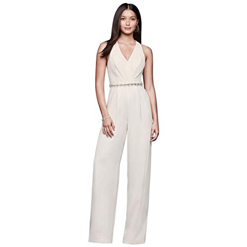 Racerback Crepe Jumpsuit with Crystal Belt Style DS870065, Ivory, 14