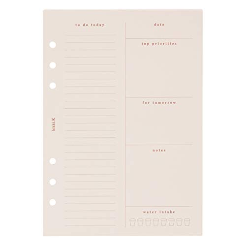 """kikki.K Self Designer Collection - A5 Planner Daily Notes Refill Almond, Divided into 6 Sections to Help Plan Your Day, Measures 8.27""""L x 5.83"""" W x 0.31""""H"""