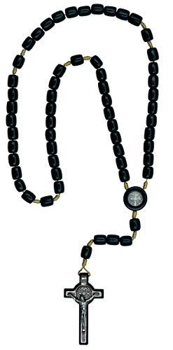 Catholica Shop St Benedict Black Wood Rosary Necklace for Men| Handcrafted in Brazil