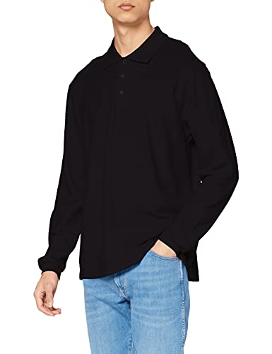 Fruit of the Loom Prime Polo à manches longues, Noir (Black), Small