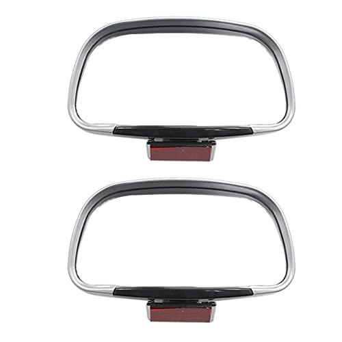 BAISHAN 1 par de rotación de 360 Grados Ajustable Vista Trasera Mirror Coche Ciego Espejo Lente de Gran Angular para estacionamiento Espejo Auxiliar (Color : Silver)