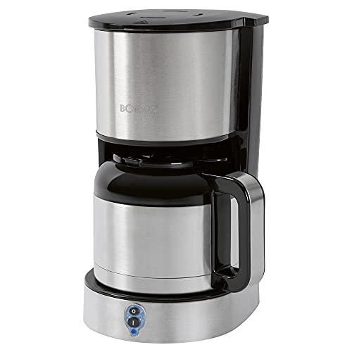 Bomann KA 6037 CB Thermo-Kaffeeautomat, für 8–10 Tassen Kaffee, Edelstahl-Thermokanne (doppelwandig) mit Aromaverschluss – kein Temperaturverlust, Edelstahl