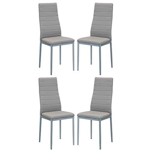 Milani Home s.r.l.s. Set di 4 sedie in Ecopelle Tortora Beige per Sala da Pranzo Elegante Moderna Similpelle di Alta qualità con Imbottitura
