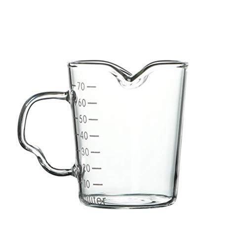 PEPENE Tazas de café Espresso Shot Copa de vidrio doble boquilla de medición taza de café accesorios de cocina 2 escalas de medición ml OZ perfecto para latte, bebidas, capuchinos y tazas