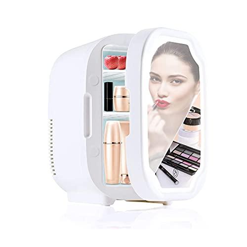 Refrigerador compacto Bromose de 8 litros, refrigerador portátil de belleza con espejo con iluminación LED, para dormitorio, dormitorio, automóvil, ideal para el cuidado de la piel y cosméticos