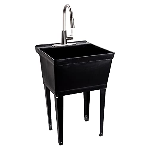 JS Jackson Supplies Black Utility Sink Laundry Tub with High Arc Stainless Steel Kitchen Faucet, Pull Down Sprayer Spout, Heavy Duty Slop Sinks for Basement, Garage, or Shop Free Standing Wash Station