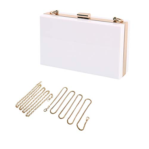 L-COOL Cute Acrylic Shoulder Bag Cross-body Bag Evening Clutch Purse Handbag With 2 Gold Chain For Women(White)