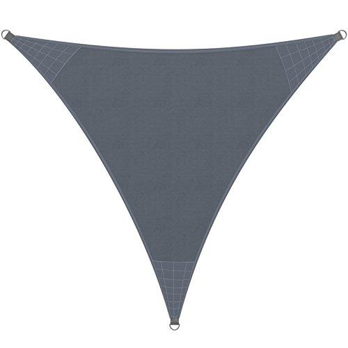 Detex® Sonnensegel Sonnenschutz Windschutz | HDPE Gewebe | wasserabweisend & windabweisend | Dreieck 5x5x5m | 7-Fach quer vernäht | robust & stabil | anthrazit | Modellauswahl