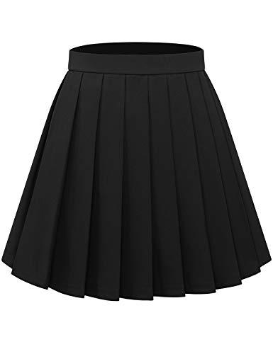 Bbonlinedress Faltenrock Röcke Rock Damen Skirt Skirts Mini Rock Basic Solid Vielseitige Dehnbaren Informell Minikleid Retro Sexy Rock Faltenrock Black L