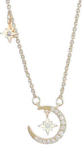 NC188 Lady Moon Star Necklace Simple Charm Necklace