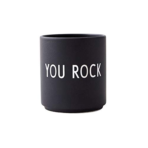 Design Letters Taza Favorite, YOU ROCK (Negro) - Taza decorativa para beber con muchas funciones, Hecho en colores de moda con diferentes declaraciones, Genial como regalo, 250 ml