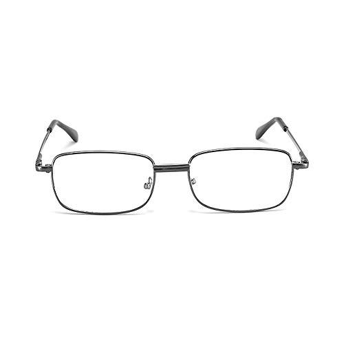 Gafas de Lectura de Cristal Gafas de Primavera de Pierna Delgada Gafas de Metal de Montura Completa Gafas de Lectura Transparentes
