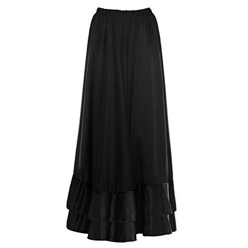 Falda Flamenca Mujer Larga Negra Volante Doble [Tallas Adulto S a XXL]【Talla L】 Ensayo Baile Danza Disfraz