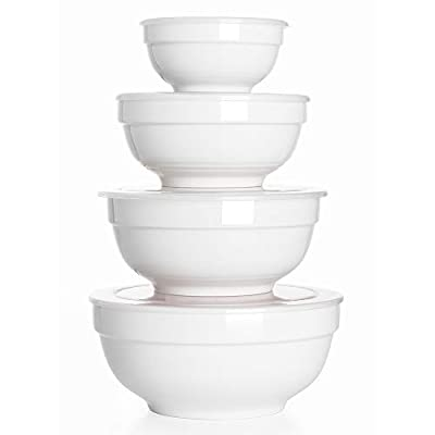 DOWAN Porcelain Serving Bowls, 12/22/42/64 Ounce Nesting Bowls with Lid, Microwaveable Small Mixing Bowls with Lid, Prep Bowls with Lids