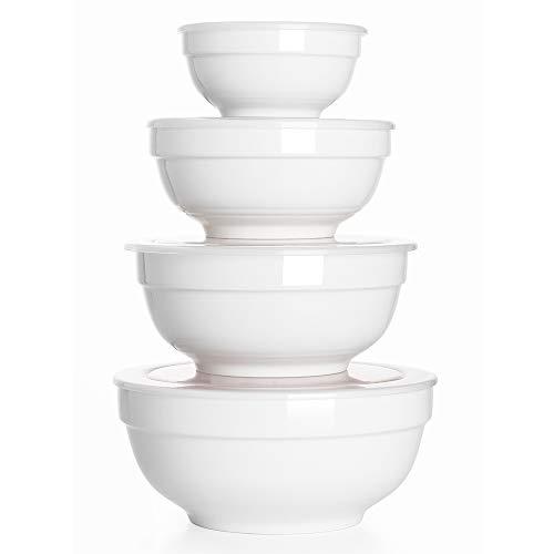 DOWAN Schale aus porzellan, 4pcs Mikrowellengeschirr Porzellan Set, 350/770/1240/1890ml, Geschirr- und Schüsselset, Müslischale mit Deckel, Salatschüssel, Suppen-, Dessert- und Servierschale - weiß