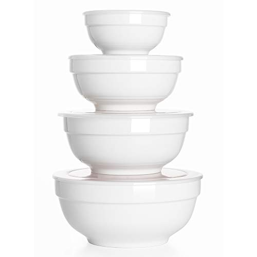 DOWAN Ceramic Bowls with Lids, Serving Bowls with Lids, Food Storage Container, Porcelain Prep Bowl Set, Versatile Bowls for Kitchen, Microwave & Dishwasher Safe, 64/42/22/12 Ounces, Set of 4