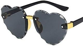 weichuang - weichuang Gafas de sol para niños con montura de corazón sin montura para niños, gris, rosa, rojo, moda, protección UV400, gafas de sol para niños (lentes de color: C2 gris)