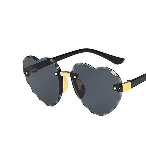 weichuang Gafas de sol para niños con montura de corazón sin montura para niños, gris, rosa, rojo, moda, protección UV400 (lentes de color: C2 gris)