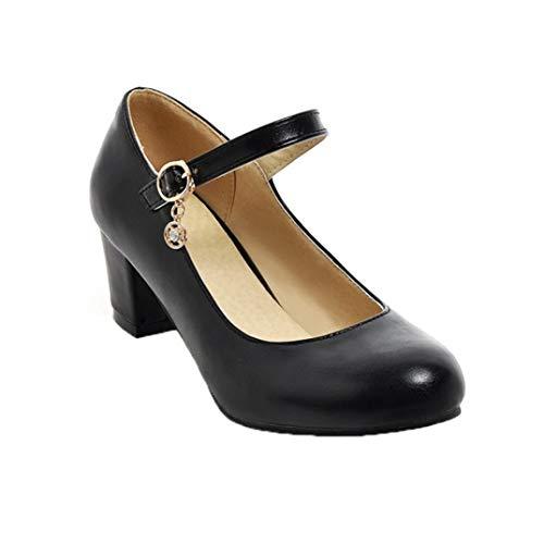 Frauen Klassiker Mary Janes Schuhe Pu Runde Zehen Flacher Mund Klobige Absätze Mode Knöchelriemen Brautkleid Pumps Plus Size