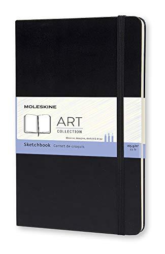 Moleskine Art Collection Skizzen-/ Zeichenbuch (mit Hardcover und elastischem Verschluss, Papier geeignet für Stifte, Bleistifte und Pastelle, Groß 13 x 21 cm, 104 Seiten) schwarz
