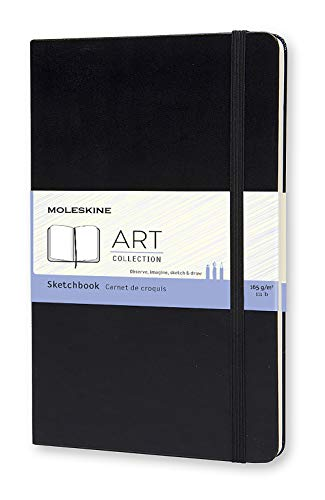 Moleskine Art Sketchbook, Hard Cover, Large (5' x 8.25') Plain/Blank, Black, 104 Pages