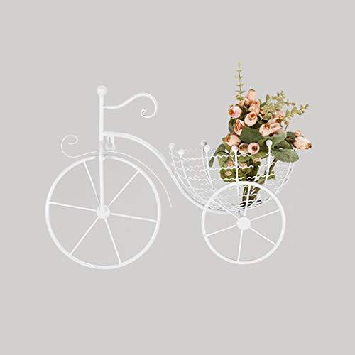 XLYYHZ Soporte de pared para plantas con forma de bicicleta (22 x 33 x 43 cm) para interiores y exteriores, salón con múltiples niveles (color blanco).