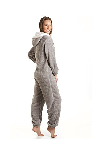 CAMILLE Druck Super Weiches Fleece Alles in Einem 42-44 Grey Nina Onesie - 4