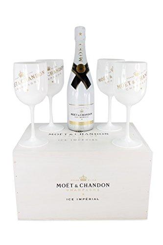 Moet & Chandon Moet Ice Champagner in Holzkiste mit 4 Gläsern (1 x 0.75 l)