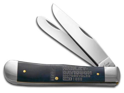 CASE XX Blue Bone Trapper Stainless Pocket Knife Knives for Harley-Davidson