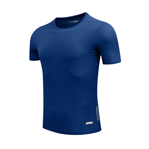 Xmiral T-Shirt Herren Casual Oansatz Tops Fitness Sport Schnelltrocknend Atmungsaktiv Bluse Single Jersey Stoff Sweatshirt Kurzarmshirt(Dunkelblau,XXL)