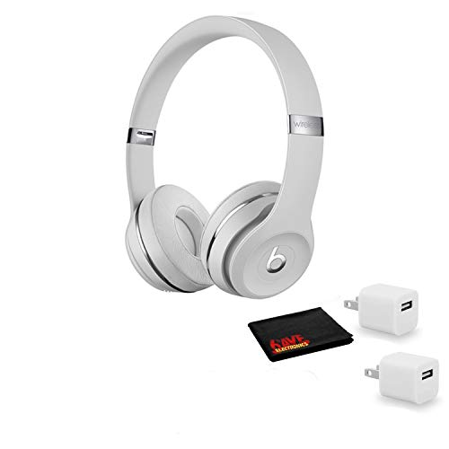 Beats by Dr. Dre Beats Solo3 Wireless On-Ear Bluetooth Headphones (Satin Silver) - Kit with USB Adapter Cube