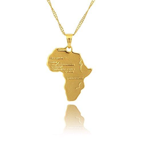 Anhänger Afrika Karte 18 Karat vergoldet Edelstahl Kupfer