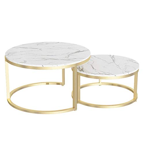 N/Z Living Equipment Mesas Mesa de Centro de mármol Redonda Diseño Elegante Base de Metal Muebles Decorativos de Sala de Estar al Lado del sofá Mesa de cóctel Blanco y Dorado Juego de 2