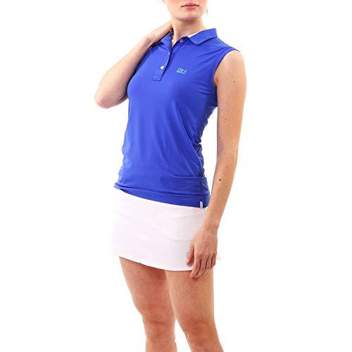 Sportkind Mädchen & Damen Tennis, Golf, Segeln, Funktions Poloshirt ärmellos, UV-Schutz UPF 50+, Kobaltblau, Gr. XL