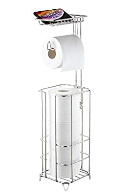 zccz Toilet Paper Holder Stand with Shelf, Stainless Steel Free Standing Toilet Roll Stand Toilet Paper Tissue Stand Storage, Portable Toilet Paper Dispenser for Bathroom Storage Organizing, Nickel