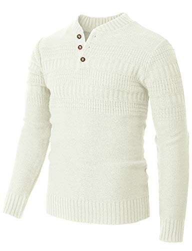 H2H Mens Casual Slim Fit Pullover Sweaters Knitted Henley Long Sleeve Thermal White US L/Asia XL (CMOSWL043)