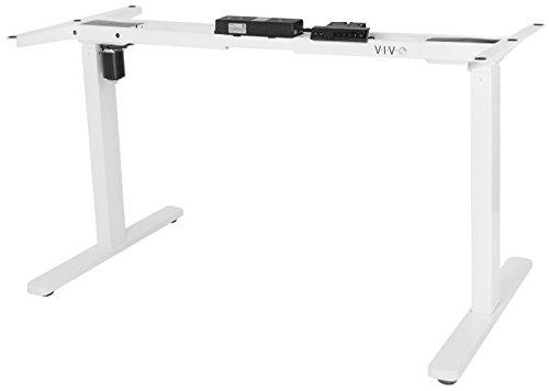 VIVO White Electric Single Motor Stand Up Desk Frame (Frame Only)   Ergonomic Height Adjustable Workstation Base, Standing Desk Legs (DESK-V110EW)