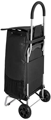 Amazon Basics Folding Shopping Cart Converts into Dolly, 36 inch Handle Height, Black