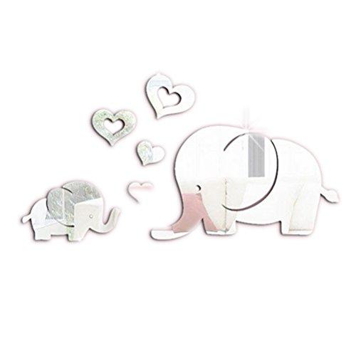 VORCOOL Elefant Herzen Wandtattoo 3D Spiegel Wand Aufkleber Kinderzimmer Babyzimmer Wanddekoration (Silber)